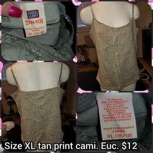 Size XL tan print cami
